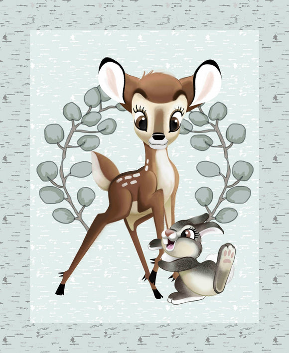 Bambi and Thumper children's fabric panel 36 x 43 inches shades of green gray white pink
