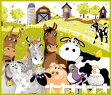 Barnyard Buddies Children's play mat panel from Susybee Cotton Colors brown gray black purple yellow green pink 44 x 35.5 inches