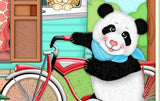 Children's Fabric Panels Bazooples Camp Out Fabric Zoo Animals Panda Bear Riding Bicyclle 36 x 43 Inch Panel