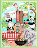Children's Fabric Panels Bazooples Camp Out Fabric Zoo Animals Cotton 36 x 43 Inches