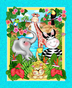 Bazooples Fabric Waterfall Children Cotton Panel featuring jungle animals in bright colors.