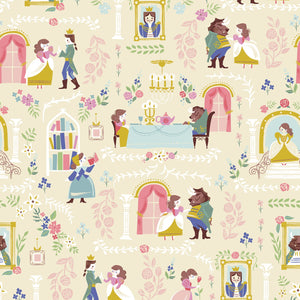 Beauty And The Beast Children's Fabric from Riley Blake Cotton Cream Multi Tossed Pink Blue Green Gold Yellow Lavender Gold