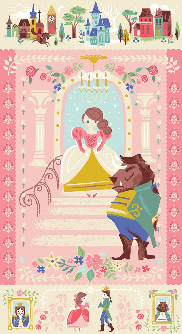 Beauty and The Beast Children's Cotton Cloth Fabric Panel 36 x 44 Inches in shades of pink blue gold green blue