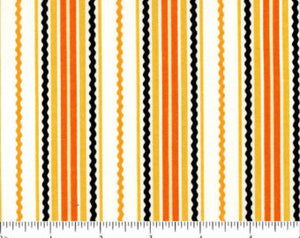 Beggars Bounty Cotton Halloween Fabric by Patrick Loce 44-45 Inches Wide shades of orange yellow white black