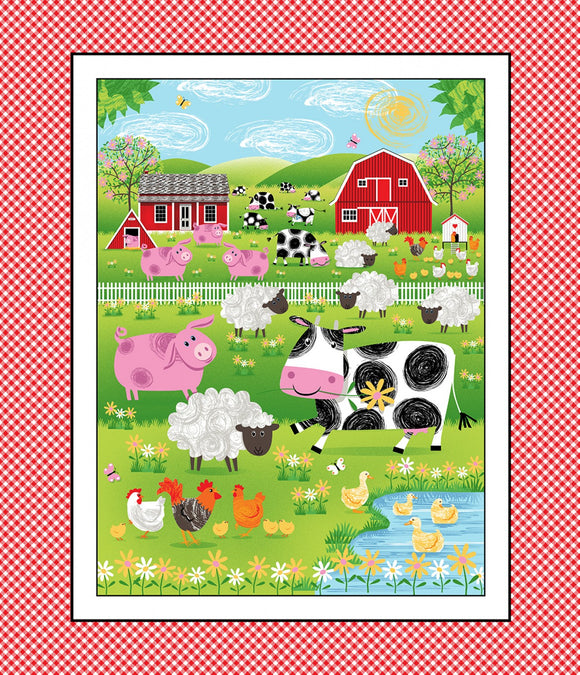 Best Friends Children's Fabric Panel Barn Yard Barn Multi Farm Animals Red White Pink Green Blue Yellow White Fabric Colors