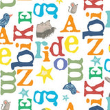 Bike Ride Children's Fabric Yardage Multi Tossed Alphabet colors in red blue orange yellow green from Clothworks