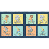 Bike Ride Children's Fabric Panel 22 x 44 Inches from Clothworks Orange Blue Yellow Blue Black and White Colors