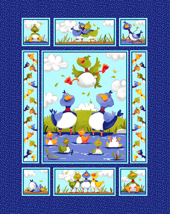 Blue Bill and Bob Best Buddies Cotton Panel 36 x 44 inches shades of blue, yellow, green, red and white