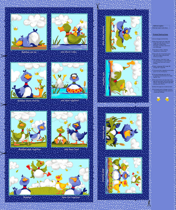 Blue Bill and Bob Best Buddies Cloth Book Panel to sew by Susybee.  Colors in shades of blue, yellow, green, orange and white