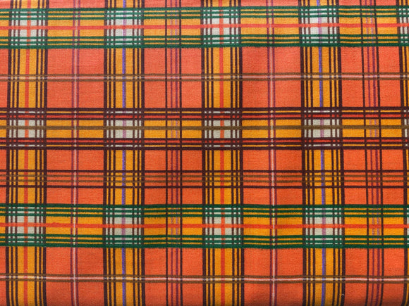 Bountiful Harvest Cotton Plaid 44 Inches Wide Orange Green Gold Brown Blue White