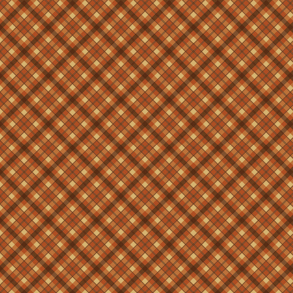 Autumn Is Calling Rust Brown Cream Buffalo Plaid Cotton from Timesless Treasures 44-45 Inches Wide