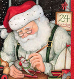 Christmas Eve Santa Holiday Fabric Panel 36 x 44 Inches Cotton Santa in his workshop colors in red green black white