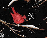 Christmas Holiday Birds On Branches Covered In Snow Black Background with White Snowflakes Red Cardinal