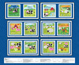 Farm Friends Children's Soft Cloth Book Panel To Sew Farm Animals Red Barn colors of blue red yellow pink orange