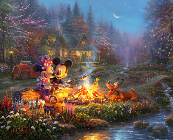 Disney Dreams Campfire Sweethearts Mickie and Minnie Mouse Fabric panel 36 x 44 Inches