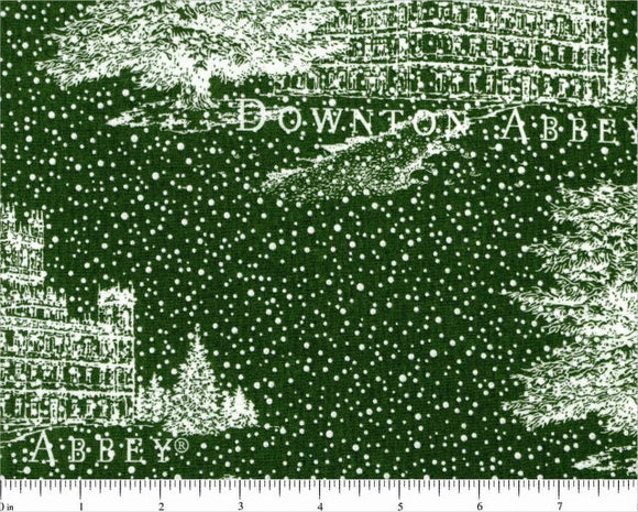 Downton Abbey Christmas Holiday Cotton Fabric Green Background White Abbey and Trees