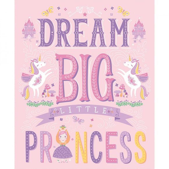 Dream Big Little Princess from Once Upon A Time Fabric Collection 35 x 44 Inches Pink lavender Yellow Green