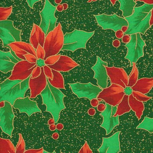 Christmas Holiday Poinsetta Fabric Yardage Green Background Red Poinsettas Green Leaves and gold outline