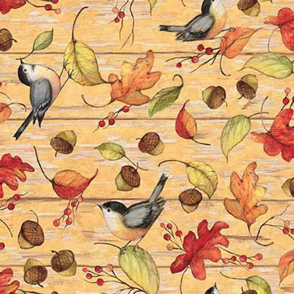 Autumn acorns leaves birds on shades of cream background colors of yellow gold brown green black gray 44 inches wide Springs Creative