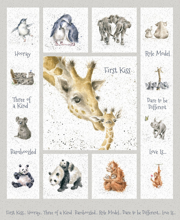First Kiss Children's Cloth Panel 36 x 44 Inches Mother and baby animals colors in gray black gold brown