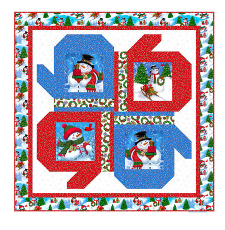 Frosty Friends Holiday Quilt Kit 46 x 46 from Quilting Treasures Snowmen and mittens white green red blue