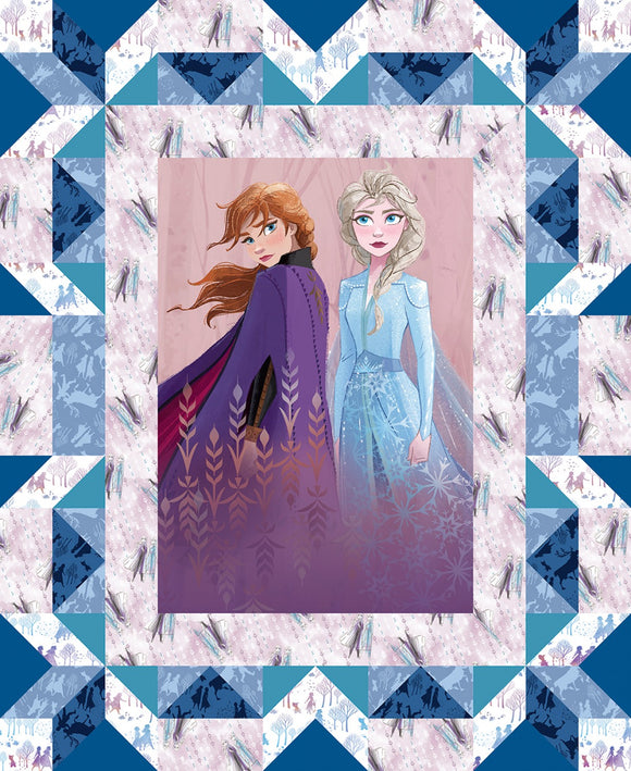 Frozen 2 Ana and Elsa Faux Quilt Cotton Panel 44 x 35.5 inches colors in shades of blue pink purple brown and gold