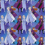 Frozen 2 Elsa and Anna Together in shade of purple, lavender, blue and maroon cotton fabric 44 inches wide from Springs Creative.