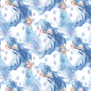 Frozen 2 Disney Fabric Elsa In Her Element With Her Horse 43-44 Inches Wide Shade of blue and lavender