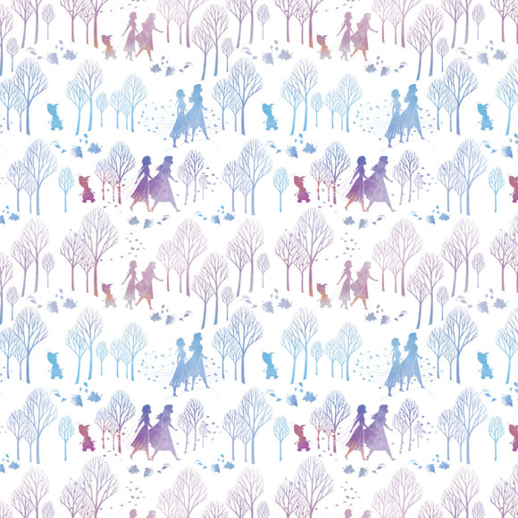 Frozen 2 cotton fabric white background with shades of purple and blue Ana Elsa and Olof