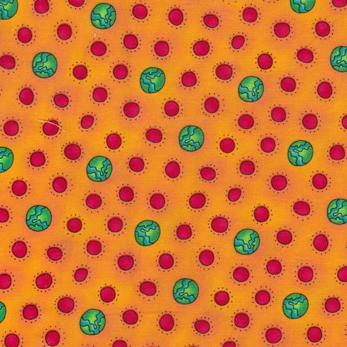 Fun Brites Children's Fabric Yardage Orange Background Red and Green Circles Cotton 44 Inches Wide