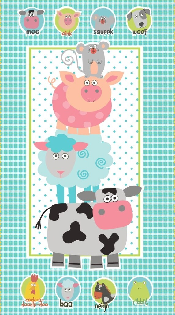 Funny Farm Children's Fabric Panel 24 x 44 Inches Studio E