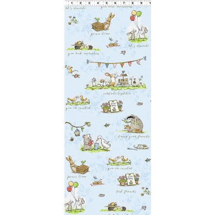 Garden Party Children's Fabric Yardage Toile by Anita Jeram Light Denim