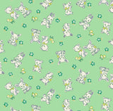 Bunnies and Bears 1930's Reproduction Cotton Fabric from Nana Mae 4 Collection Green Background with white bears and white bunnies with yellow duckies and flowers
