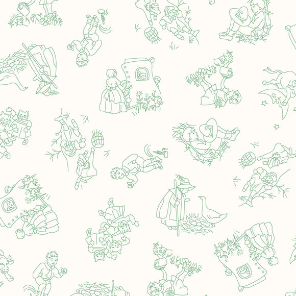 Green Nursery Rhymes Characters Cotton Toile Reproduction Fabric White Background