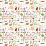 Happy Gatherings Fall Thanksgiving Holiday Cotton Fabric Tossed Words in Green Gold Brown Rust from Wilmington Prints 44 Inches Wide