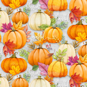 Happy Gatherings Fall Thanksgiving Holiday Fabric Shades of Orange Green Purple and Cream Cotton Fabric