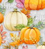 Happy Gatherings Fall Thanksgiving Holiday Cotton Fabric Cream Orange Pumpkins Purple Leaves