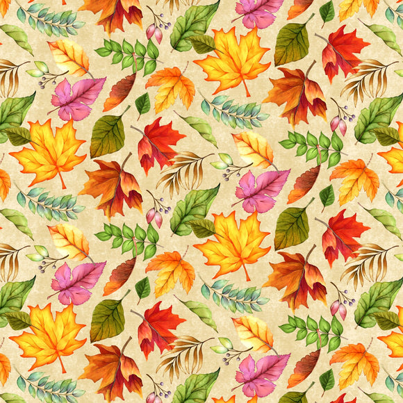 Happy Gatherings Fall Holiday Fabric Tossed Leaves Cotton Shades of Orange Gold Green Purple Brown and Rust