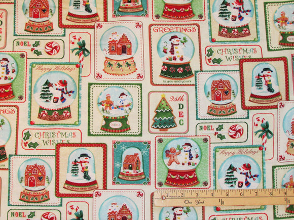 Happy Holiday Snowmen Christmas Cotton Fabric.  Snowmen featured in snow globes along with candy cane gingerbread men Christmas Trees and Gingerbread houses in traditional Christmas colors.