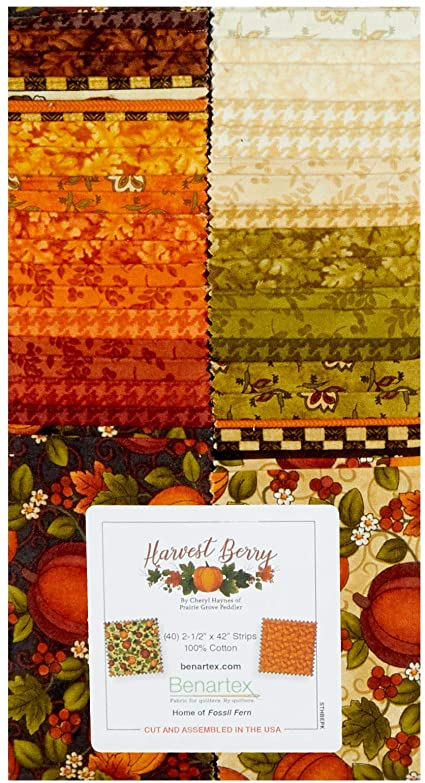 Harvest Berry Fall Autumn 2 1/2 inch strip pack from Benartex 42 strips from Harvest Berry fabric line Orange Gold Green Brown Cream White