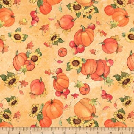 Harvest Pumpkin and Sunflower Fall Aumtum Toss Cotton Fabric