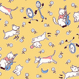 Hey Diddle Diddle Children's Nursery Rhyme Cotton Fabric Yellow Background with White Characters with Pink Blue and Black Accents