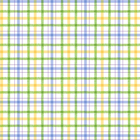 Honey Bunny Children's Plaid Fabric from Michael Miller Play Collection.  Blue Yellow Green Plaid.