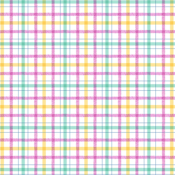Honey Bunny Children's Fabric By The Yard Michael Miller Collection Play.  Pink Yellow Blue Plaid.
