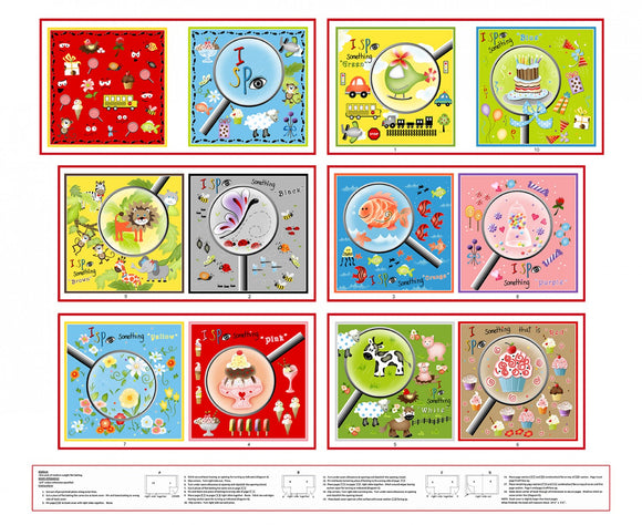 I Spy Children's Cloth Book Cotton Panel Ready To Sew Primary Colors