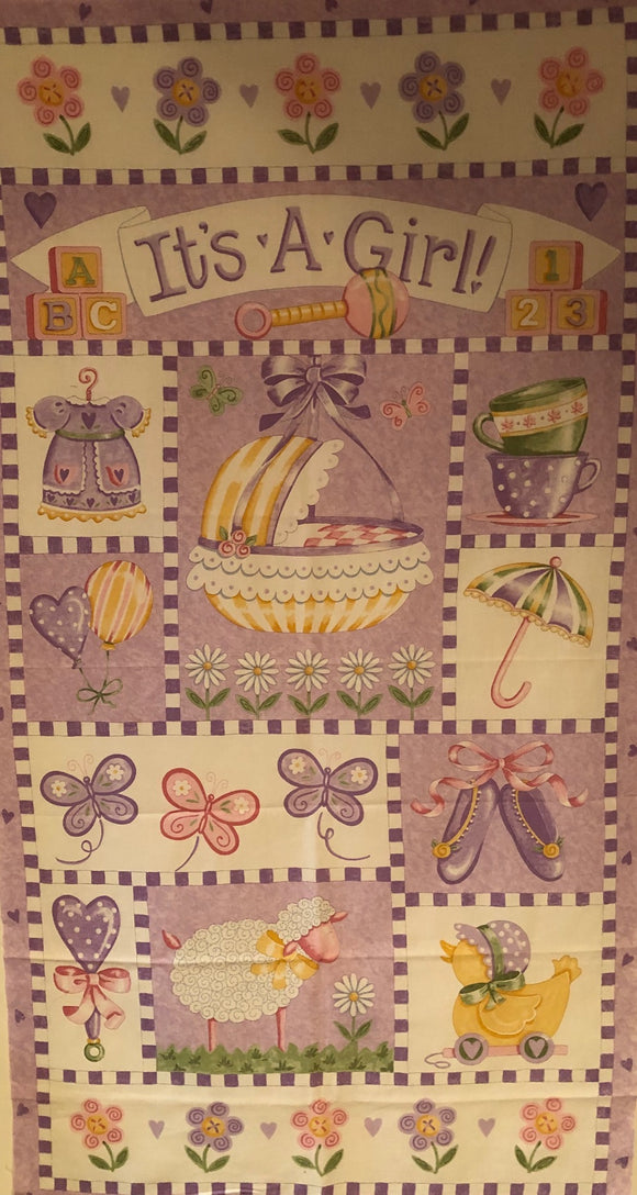 It's A Girl Children's Fabric Panel From Moda Lavendar Pink Yellow Green White