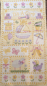 It's A Girl Children's Fabric Panel from Moda Lavender Pink Yellow Green White