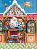 Jim Shore's Santa and Elves Workshop Christmas Holiday Fabric Panel