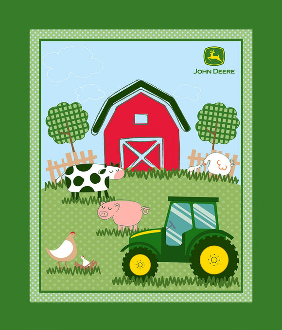 John Deere children's cotton fabric panel.  Ban yard animals, John Deere Tractor in shades of green, blue, pink and yellow.