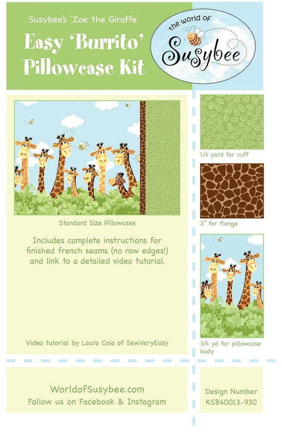 Zoe The Giraffe Cotton Burrito Style Pillowcase Kit To Sew from Susybee